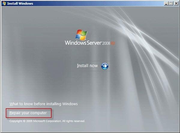 Windows Server 2008 R2 reparieren