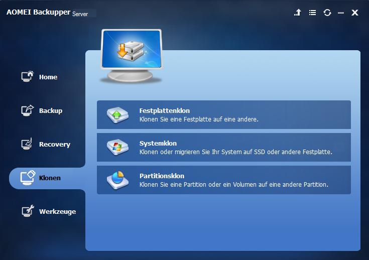 Main Interface of AOMEI Backupper