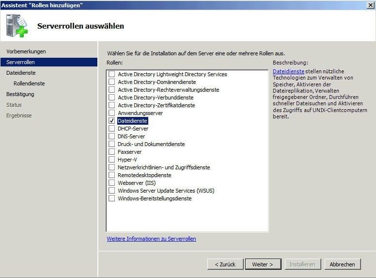Dateidienste wählen