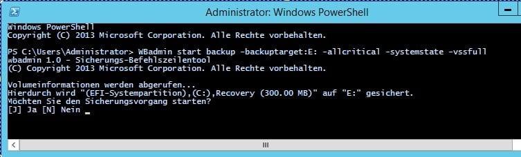 WBadmin Start Backup
