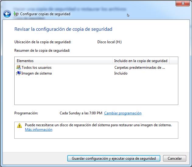 Guardar configuración y ejecutar Copia de seguridad