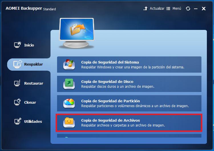 Copia de seguridad de archivos