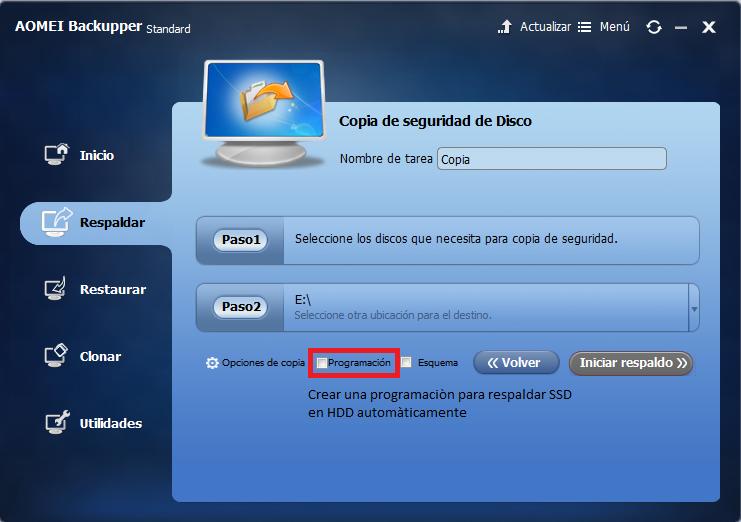programación de copia de seguridad de SSD