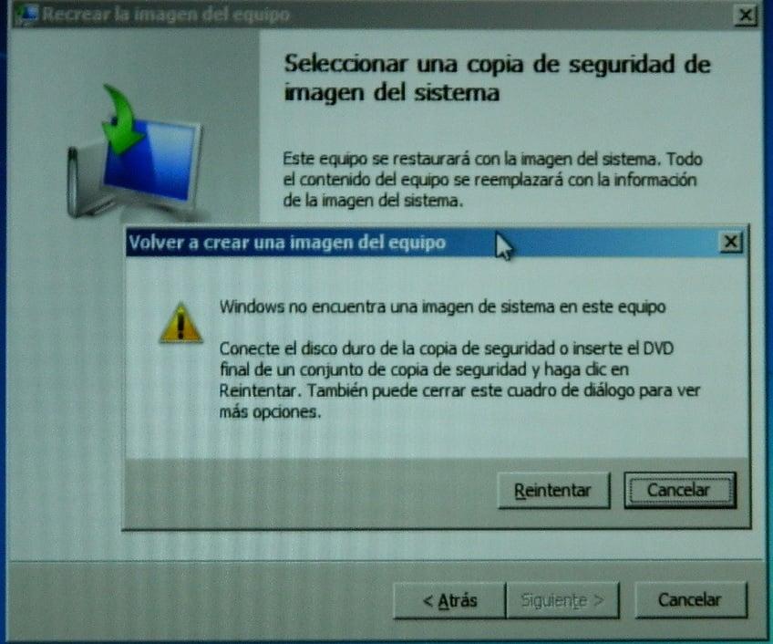 Windows no encuentra una imagen del sistema en este equipo