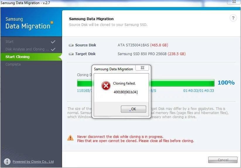 Clonación de Samsung Data Migration Falló
