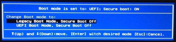 Inicio de UEFI legado