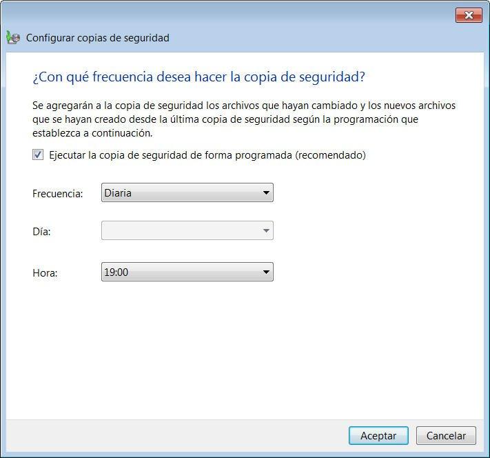 copia de seguridad programada en Windows 7