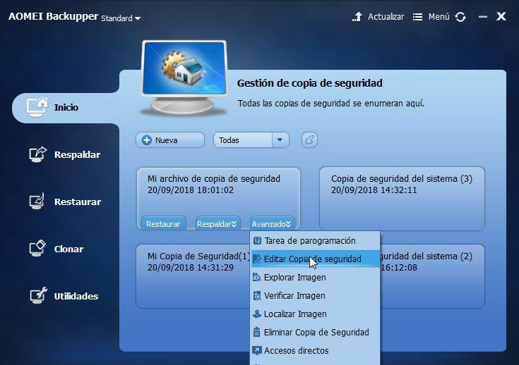editar copia de seguridad