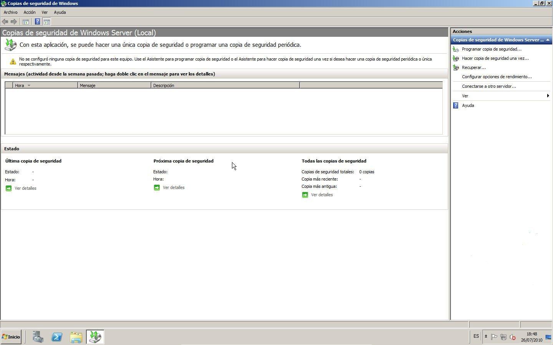 Copia de seguridad de Windows Server