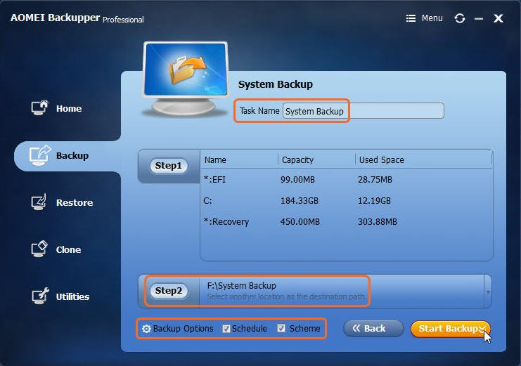 Start System Backup