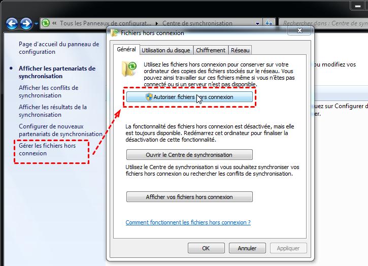 Autoriser les fichiers hors connexion