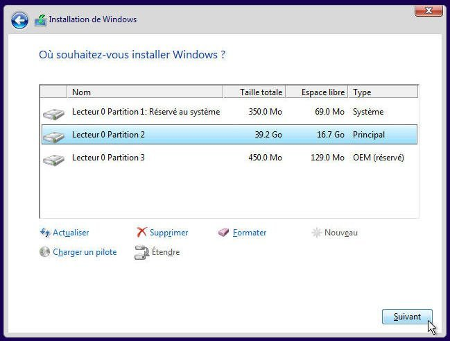 Installation de Windows