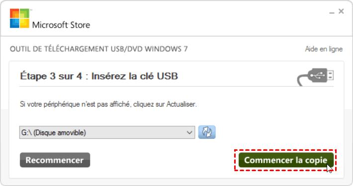 Créer clé USB de réparation
