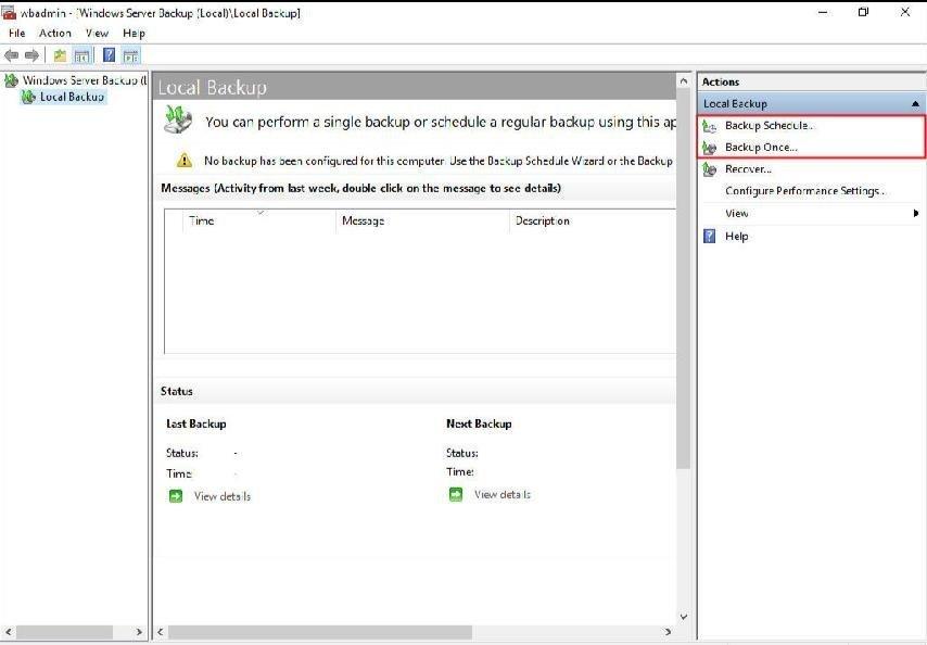 Select Backup Type