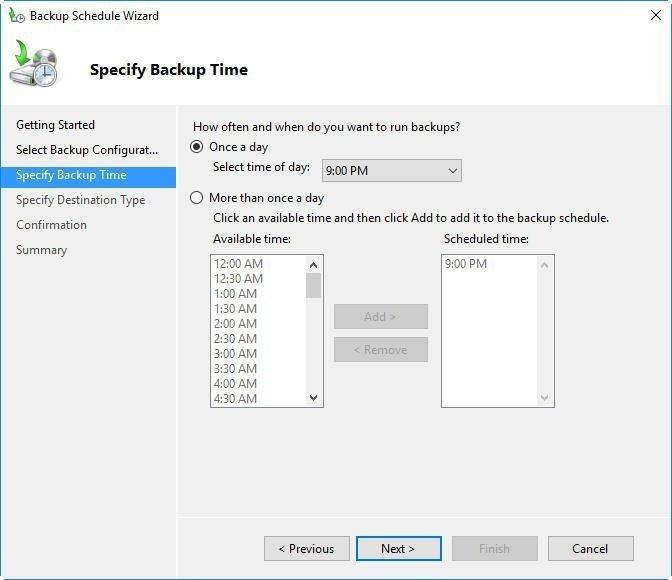 Specify Backup Time