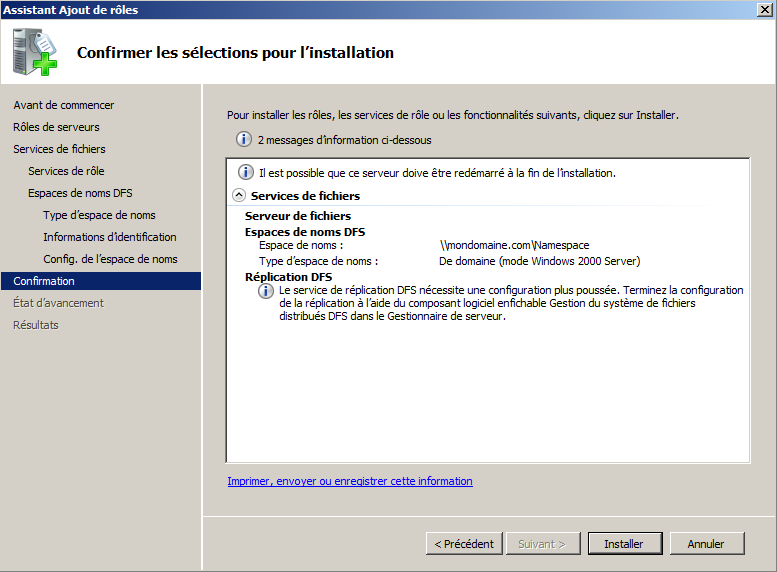 installer replication dfs