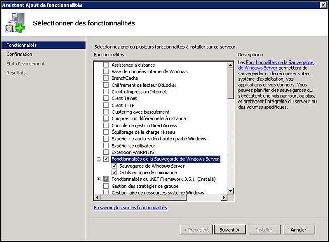 Sauvegarde Windows Server