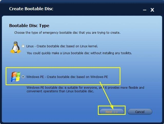Create Windows PE & Linux Bootable Disc with AOMEI Backupper