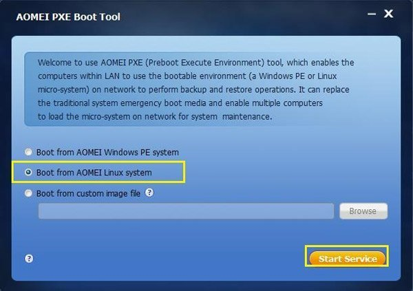 Screenshot of AOMEI PXE Boot Tool