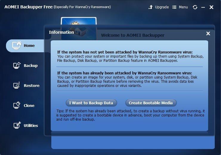 AOMEI Backupper Free For WNCRY Ransomware full screenshot