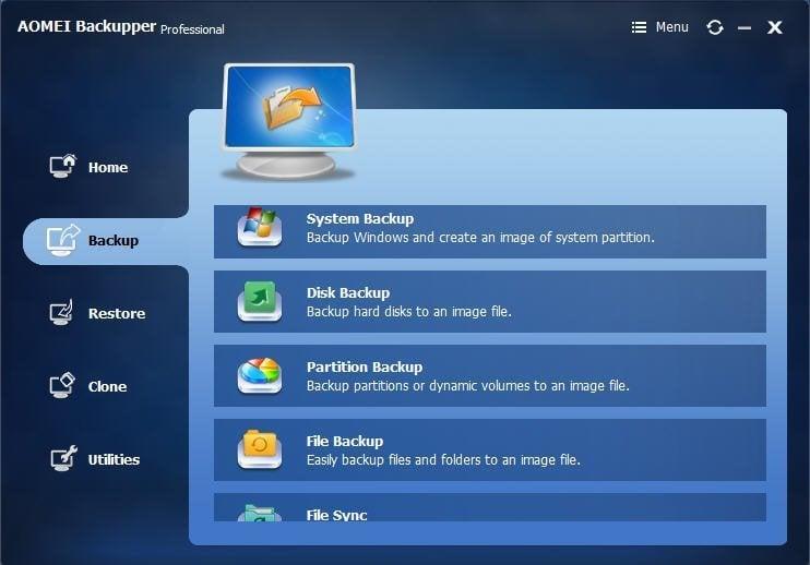 AOMEI Backupper Professional full screenshot