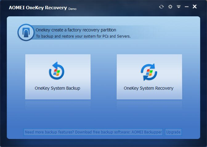 One key system backup and restore for Windows