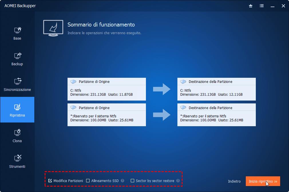 Allineare SSD Partizione Ripristino