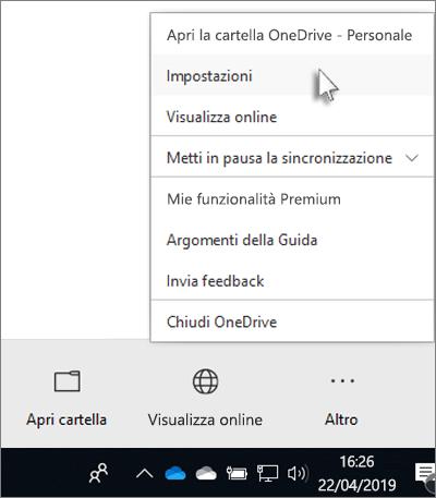 Impostazioini di OneDrive