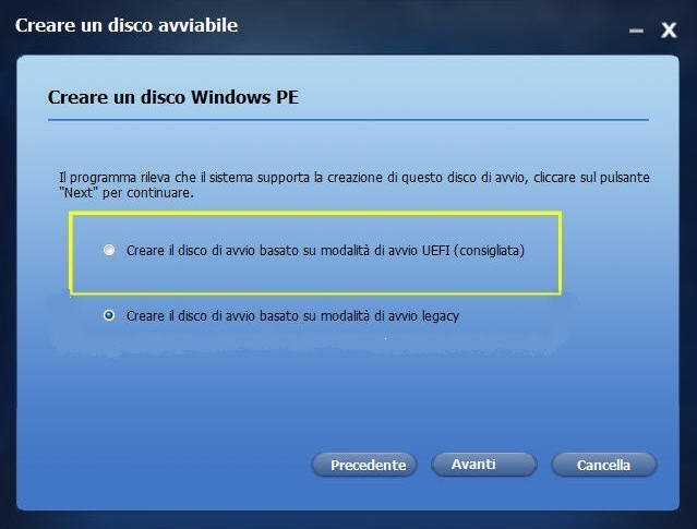 Select Windows PE Disc Type