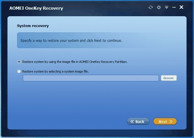 Restore System from Aomei Onekey Recovery Partition