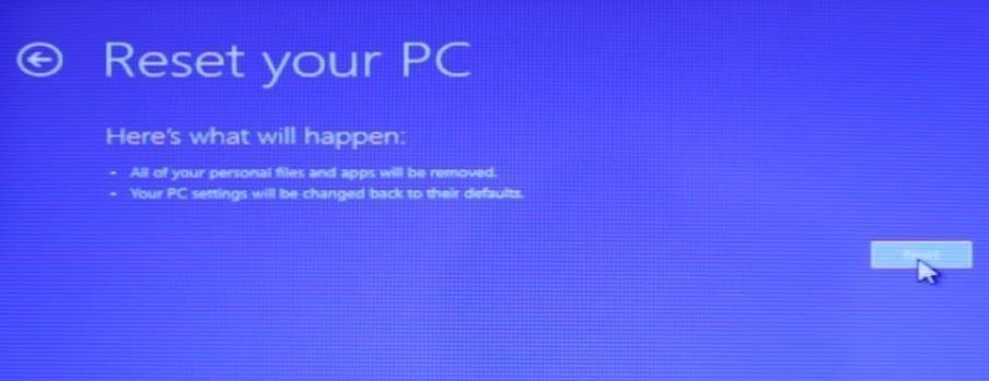 Reset Your PC Warn