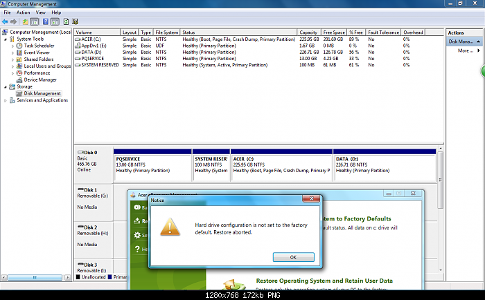 Acer Erecovery Hard Drive Configuration Is Not Set The