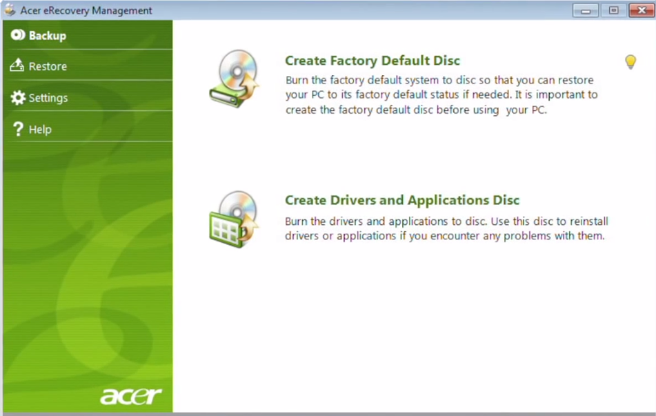 Acer eRecovery management V7.0
