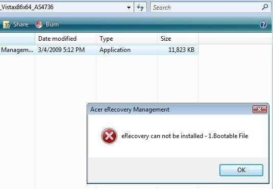 Acer eRecovery Cannot Be Installed