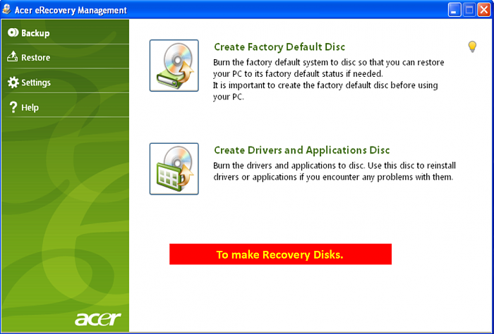 emachines recovery management gratuit