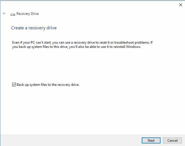 Create Acer eRecovery Drive