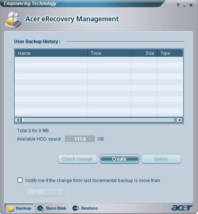 Acer eRecovery Management XP Backup