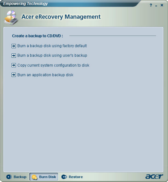 Acer eRecovery Management XP Burn Backup Disk