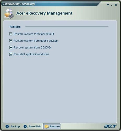Acer eRecovery XP Restore