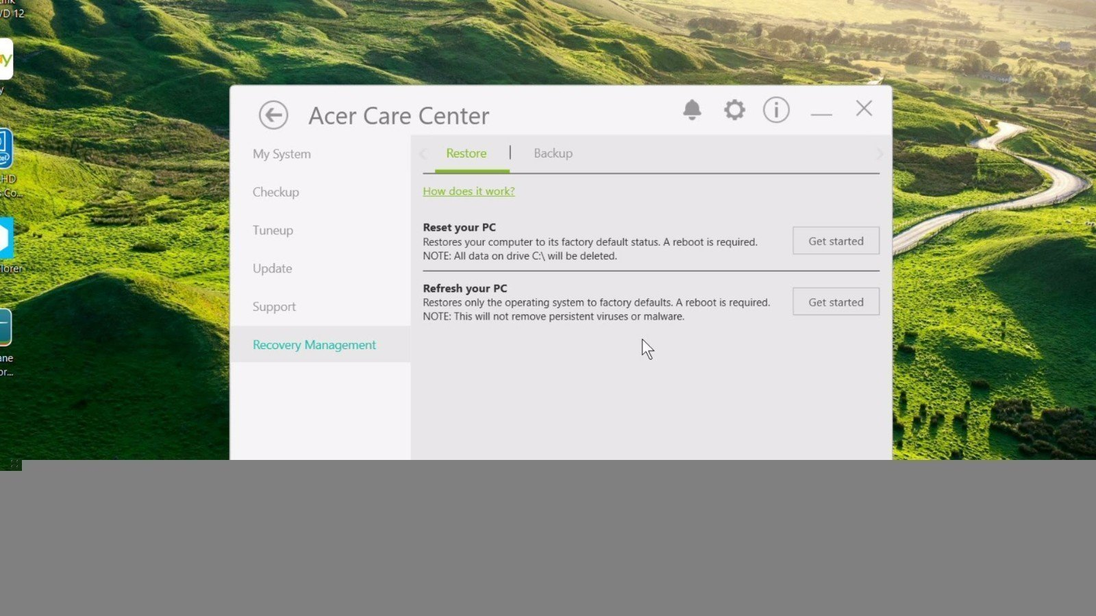 Acer Care Center Recovery Management
