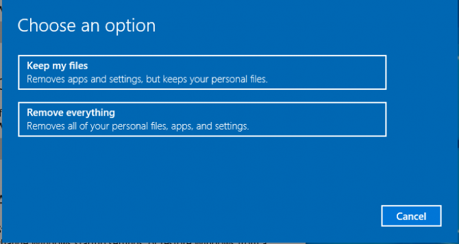 Remove Everything Win10