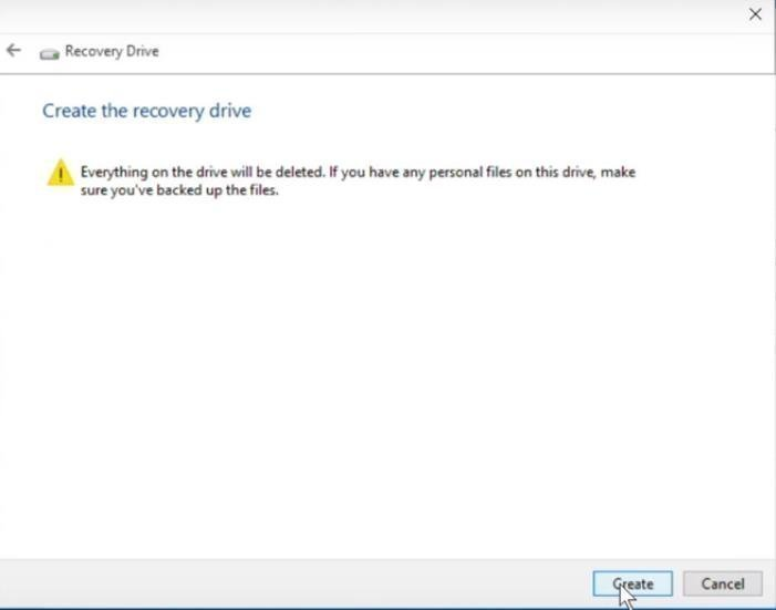 Create Recovery Drive Warning