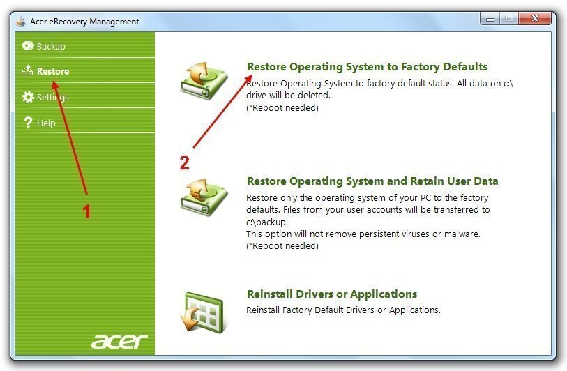 Acer eRecovery Management V7 Restore