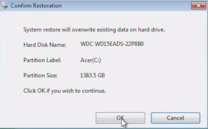 Acer System Restore Overwrite Data