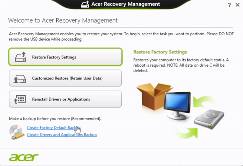 Acer eRecovery Management Windows 8
