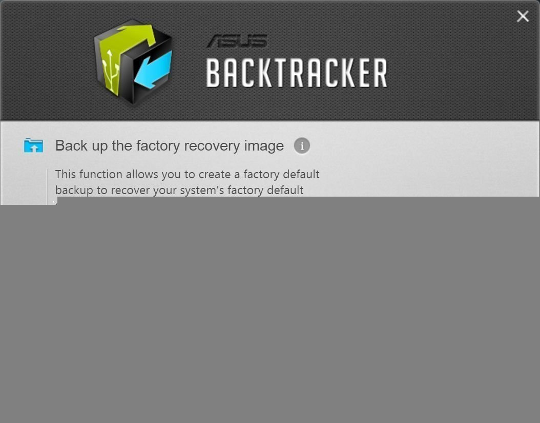 Asus Backtracker Backup Factory Recovery Image Start