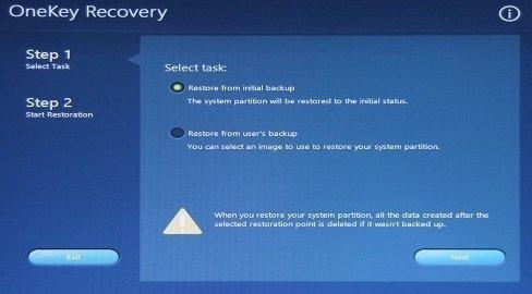 Lenovo OneKey Recovey 8.0 Select Task