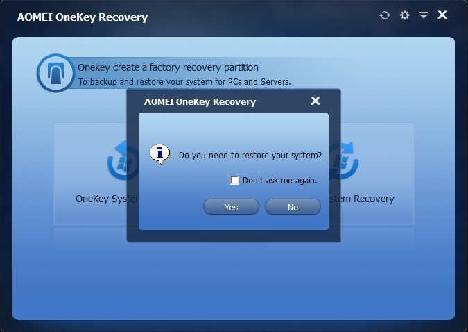 One Key System Recovery