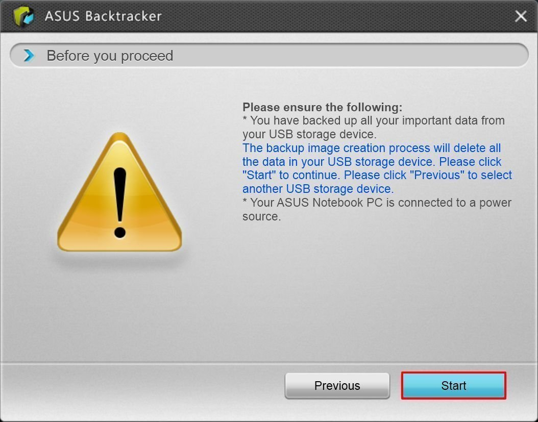 Asus Backtracker Backup Factory Recovery Image Warn