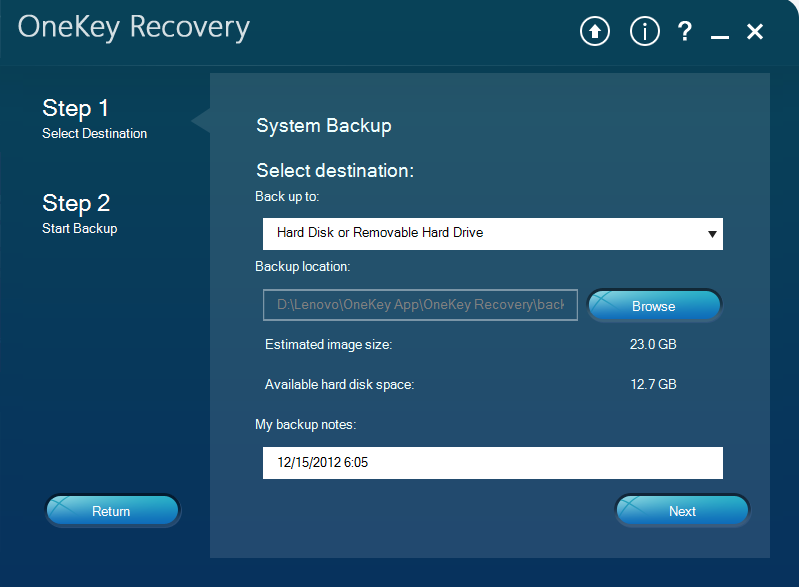 Lenovo OneKey Recovery 8.0 Select System Backup Destination